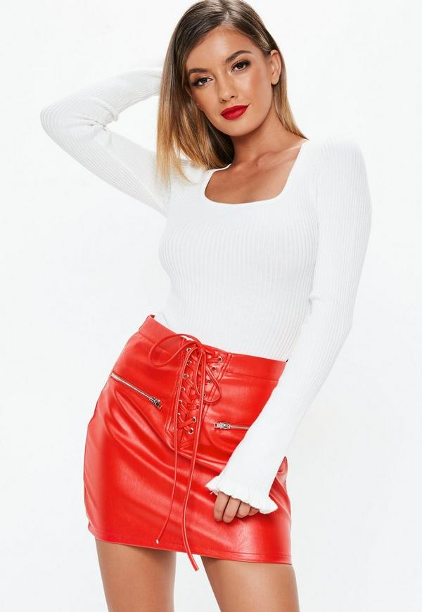 ee137519d311 ... Red Lace Up Faux Leather Mini Skirt. Previous Next