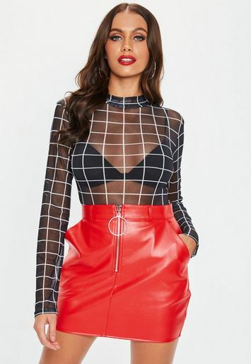 Red Faux Leather Ring Zip Mini Skirt Missguided