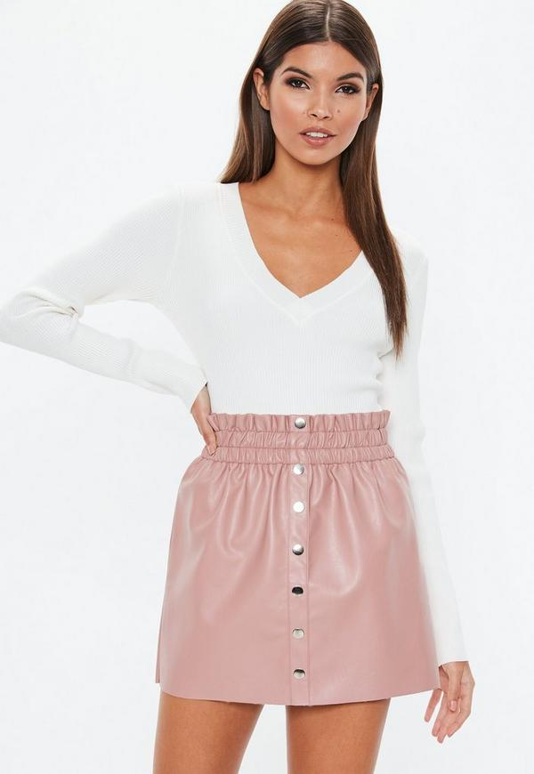 Nude Faux Leather Button Mini Skirt | Missguided