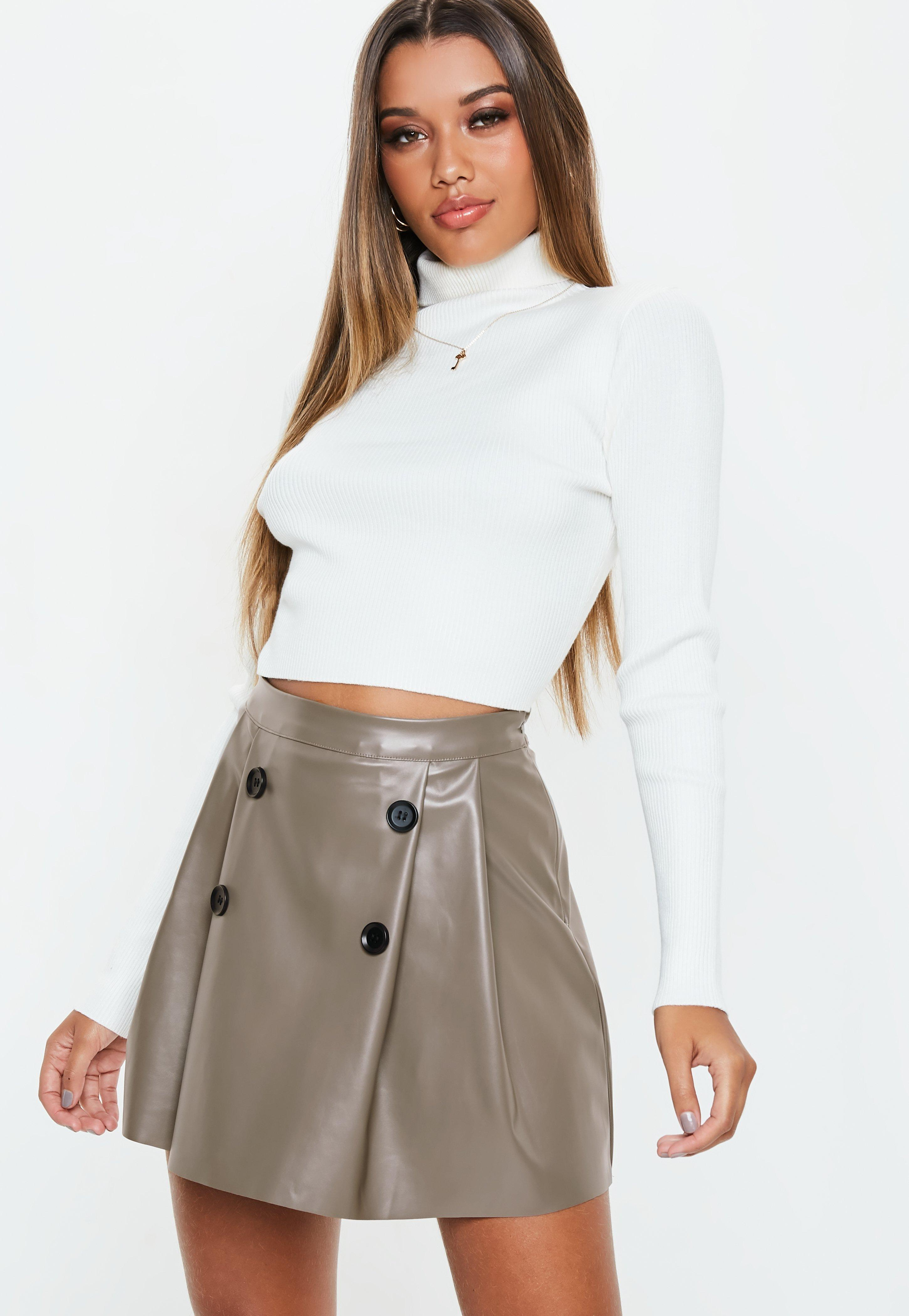 52bf62f1a049 Grey Faux Leather Button Pleated Mini Skirt | Missguided
