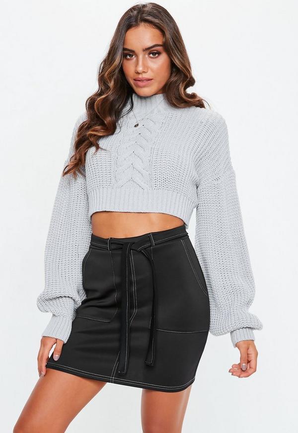 9fc6d7318b423 ... Black Contrast Stitch Scuba Utility Tie Waist Mini Skirt. Previous Next