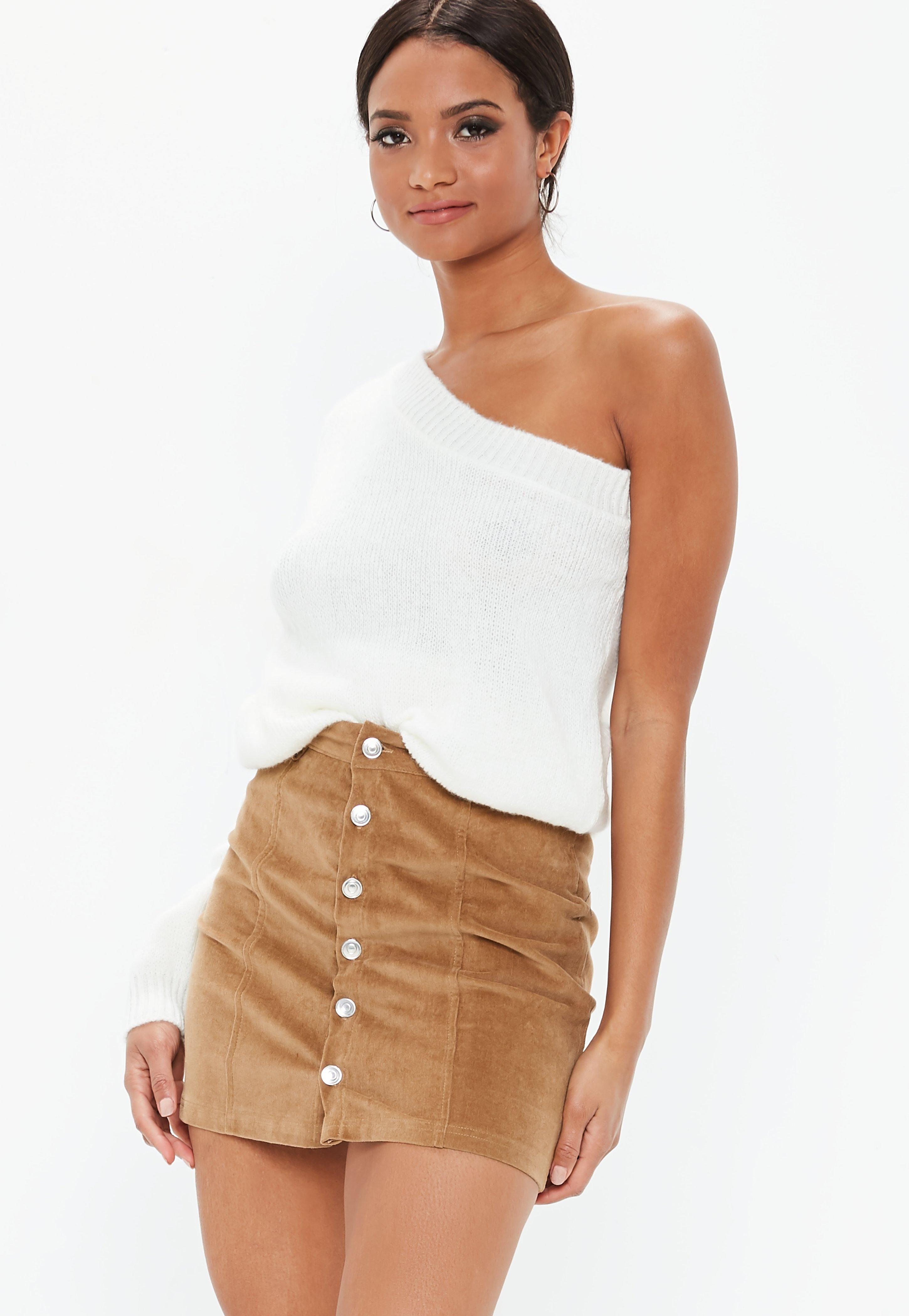 f44e8ea1dc Tan Cord Button Through Mini Skirt   Missguided