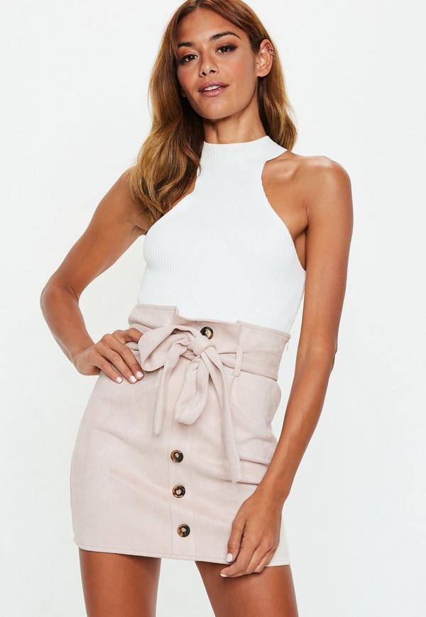 1115643f73 Blush Faux Suede Paperbag Waist Mini Skirt