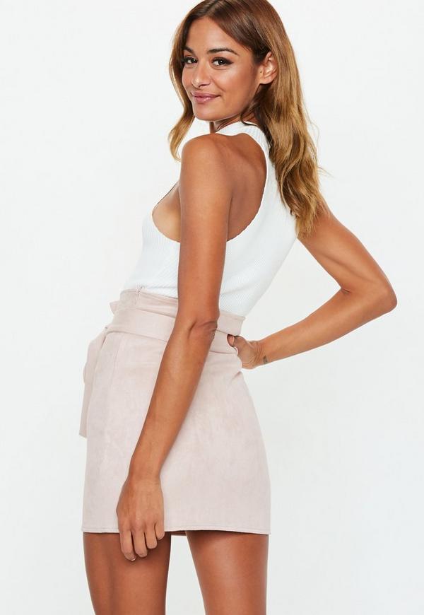 28cc2f1725 Blush Faux Suede Paperbag Waist Mini Skirt. Previous Next