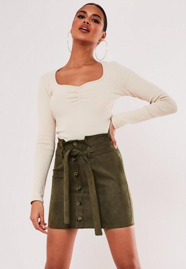 khaki-faux-suede-paperbag-waist-mini-skirt by missguided