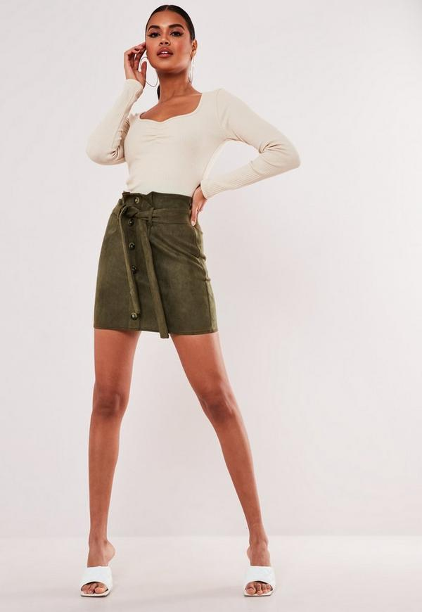 c4793df6a7 Khaki Faux Suede Paperbag Waist Mini Skirt. Previous Next