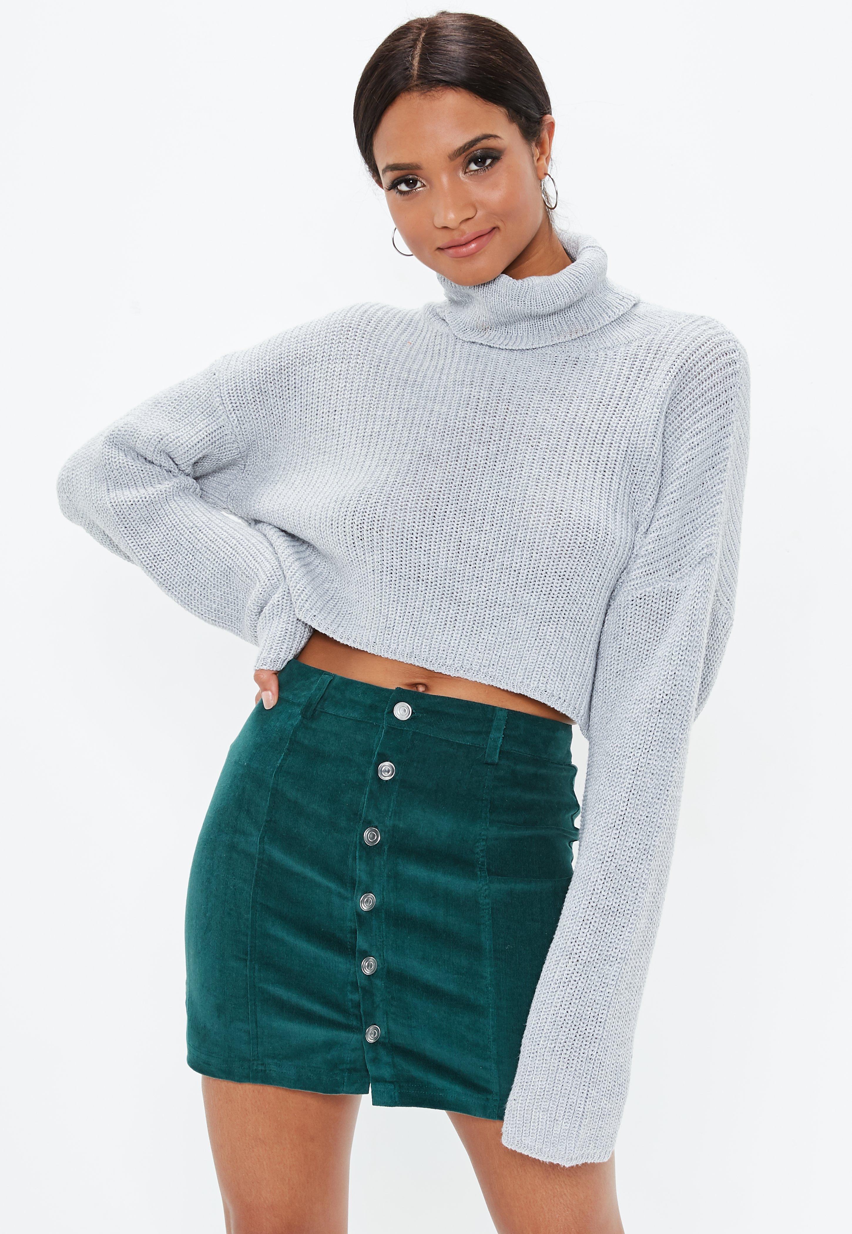 458e6fd85f9b Green Cord Button Through Mini Skirt | Missguided