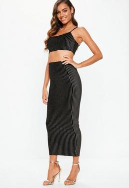0974fea50fa Green Gingham Coated Denim Mini Skirt · Black Velvet Glitter Stripe Cami  Crop And Midi Co-Ord