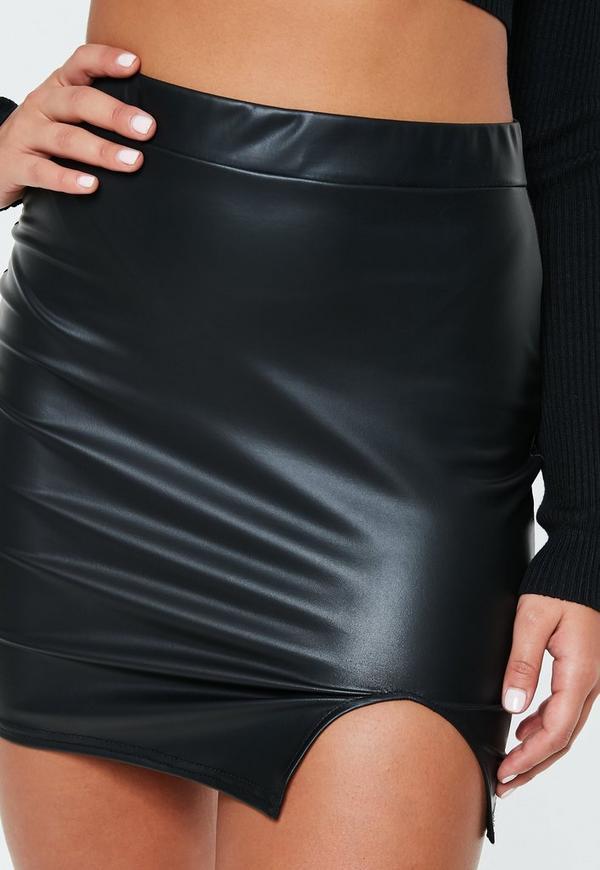 Black Faux Leather Side Split Mini Skirt Missguided