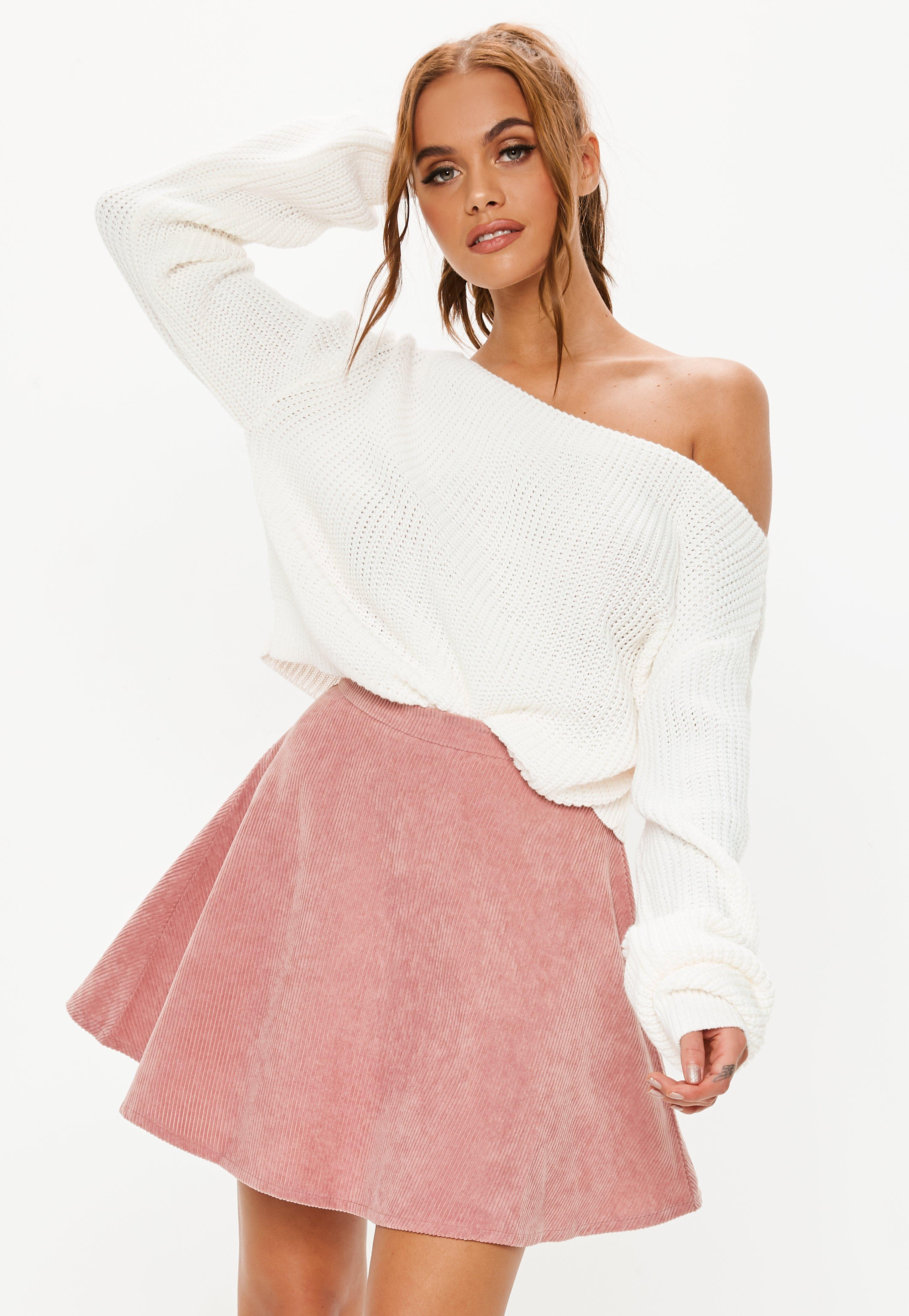 3abb229a91 Pink Corduroy Skater Skirt | Missguided