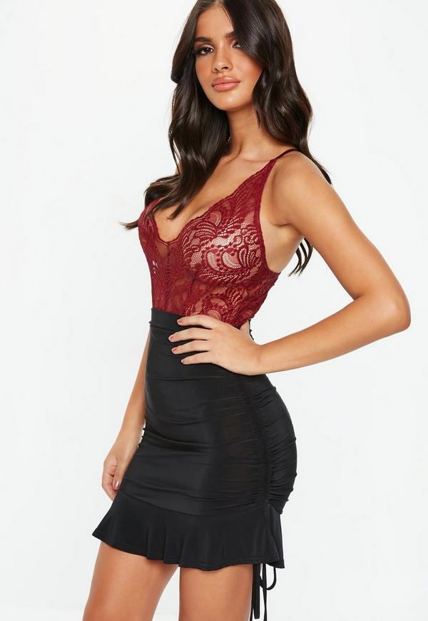 Black Ruched Detail Mini Skirt Missguided