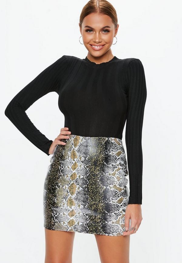97669b083d3 Khaki Snake Print Faux Leather Mini Skirt