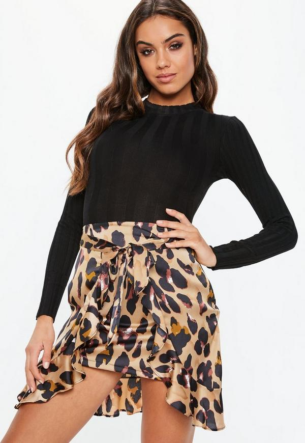 Brown Leopard Tie Front Mini Skirt by Missguided