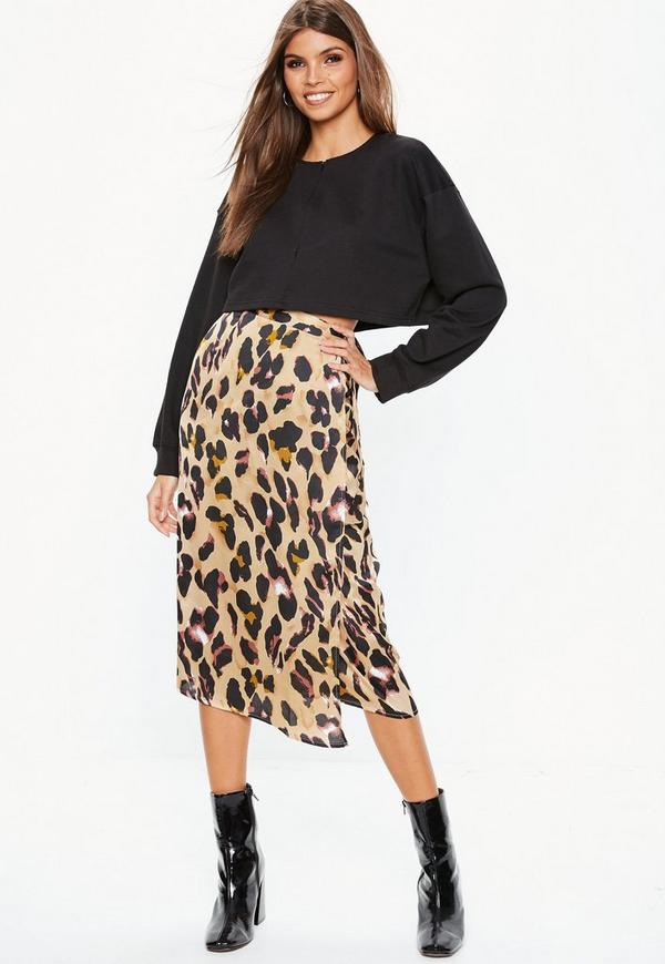 9520afab380c Brown Leopard Print Tie Side Midi Skirt | Missguided Australia