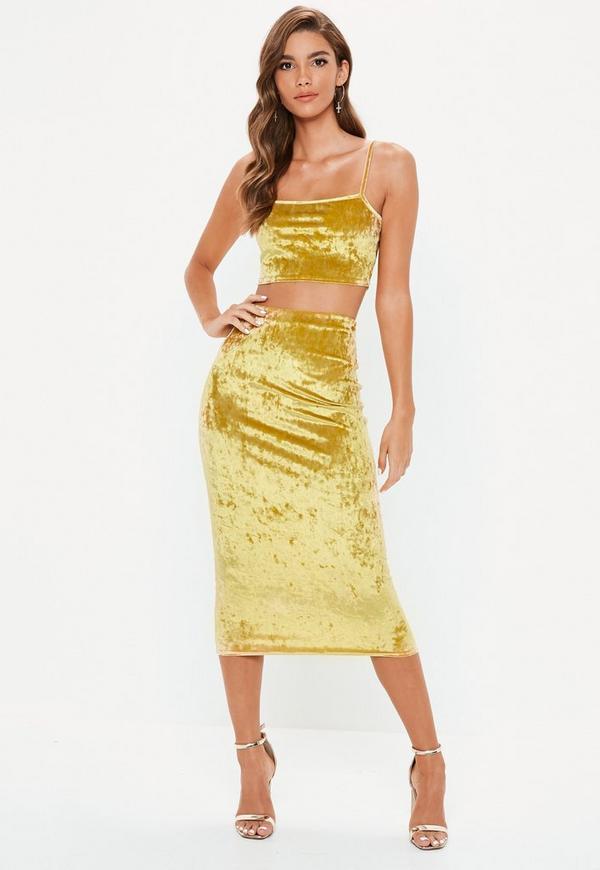 aed524e1b18e Gold Crushed Velvet Cami Top Skirt Co Ord Set