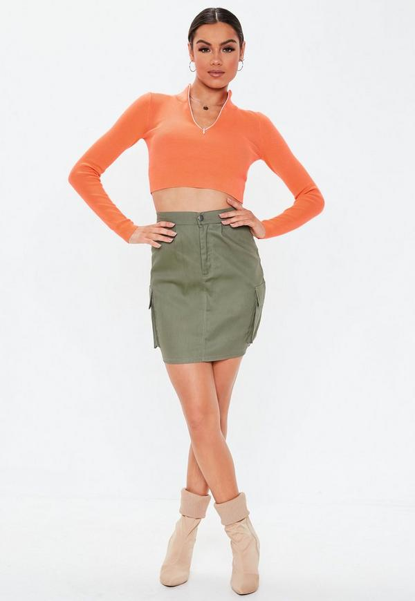 It Is Child Pocket Casual Cotton Of The Woman In A Cynical Cargo Miniskirt Lady S Khaki Knee Spring And Summer