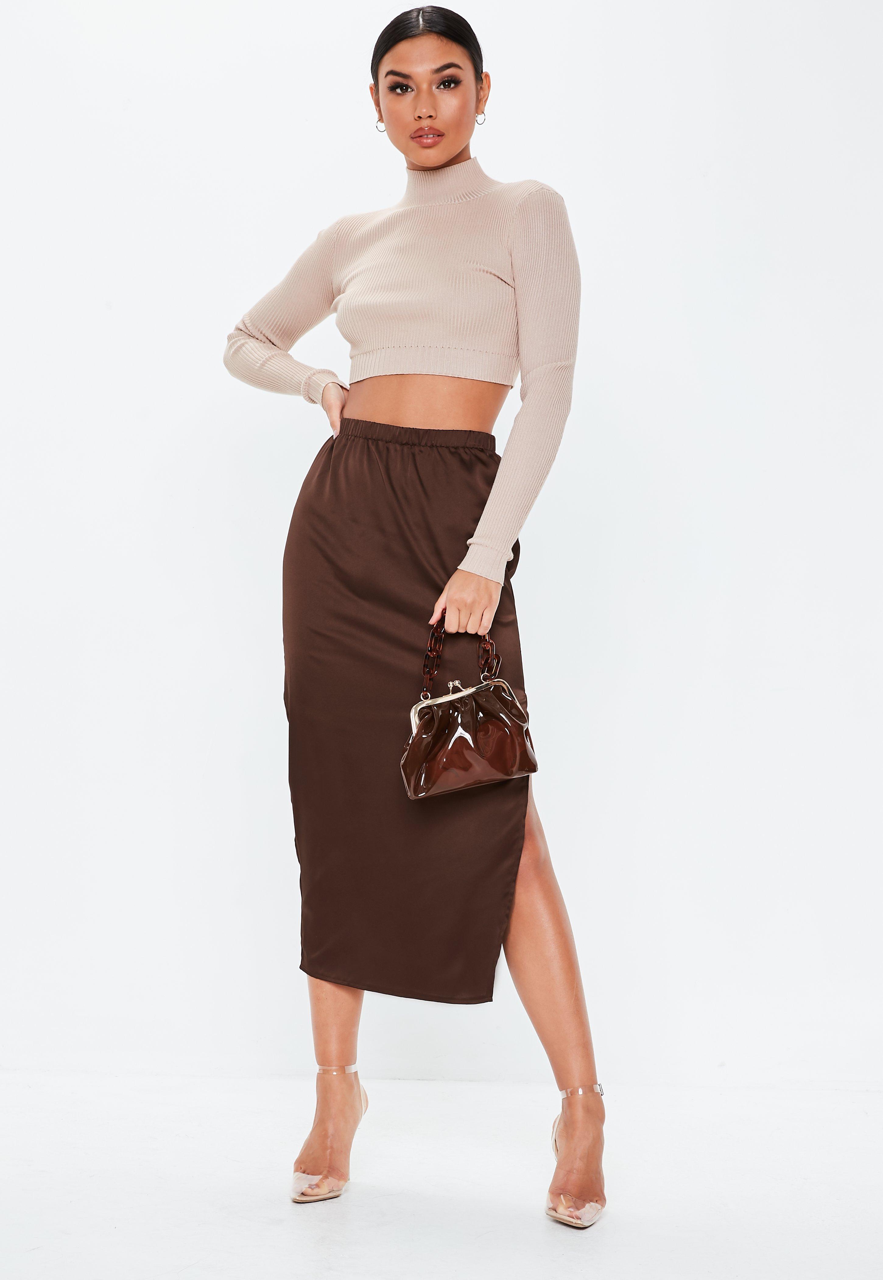 efb73330d743 Chocolate Satin Slip Midi Skirt   Missguided Australia