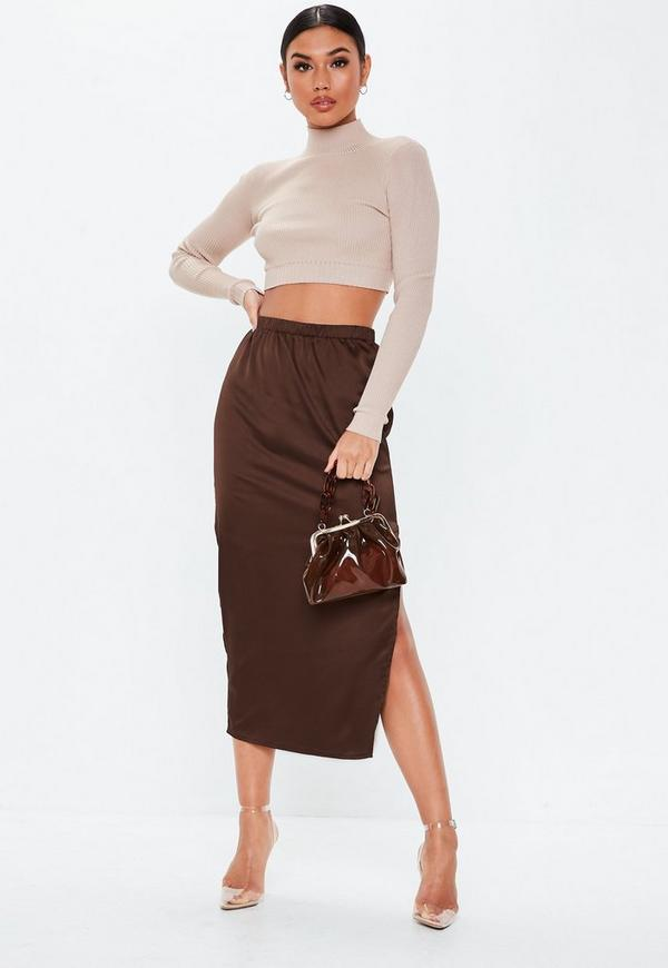 Chocolate Satin Slip Midi Skirt by Missguided