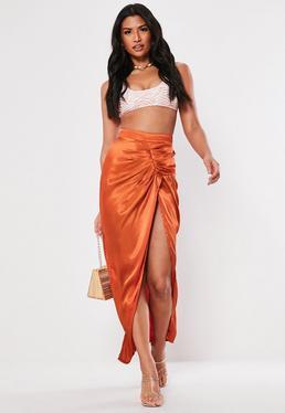 eca4d09ed Rust Satin Ruched Detail Midaxi Skirt
