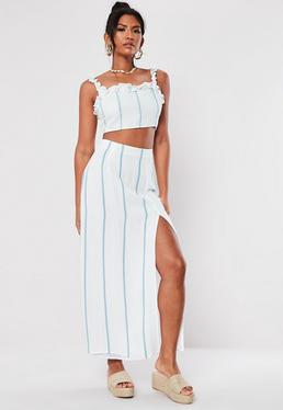 0f4b222543ee7b White Striped Co Ord Maxi Skirt