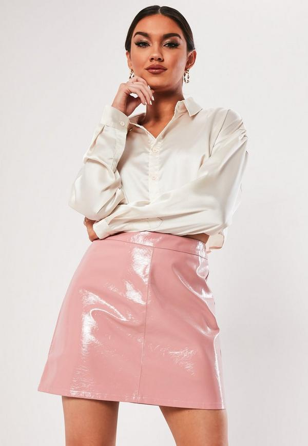 Pink Vinyl A Line Mini Skirt Missguided