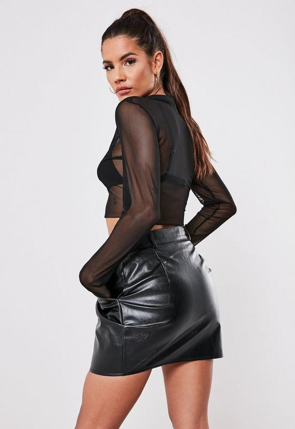 Black Zip Faux Leather Micro Mini Skirt Missguided Ireland