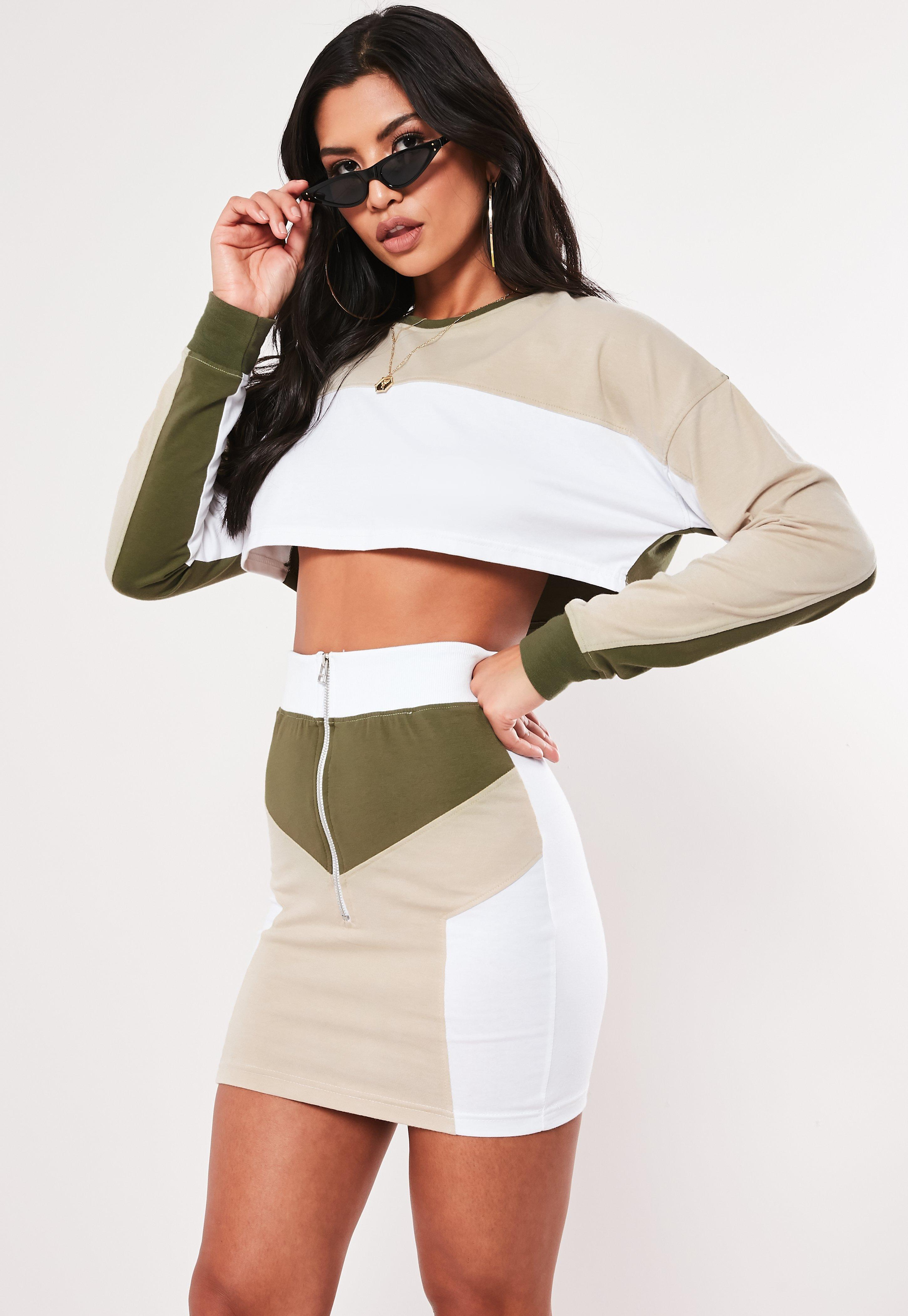Khaki Color Block Zip Front Mini Skirt by Missguided