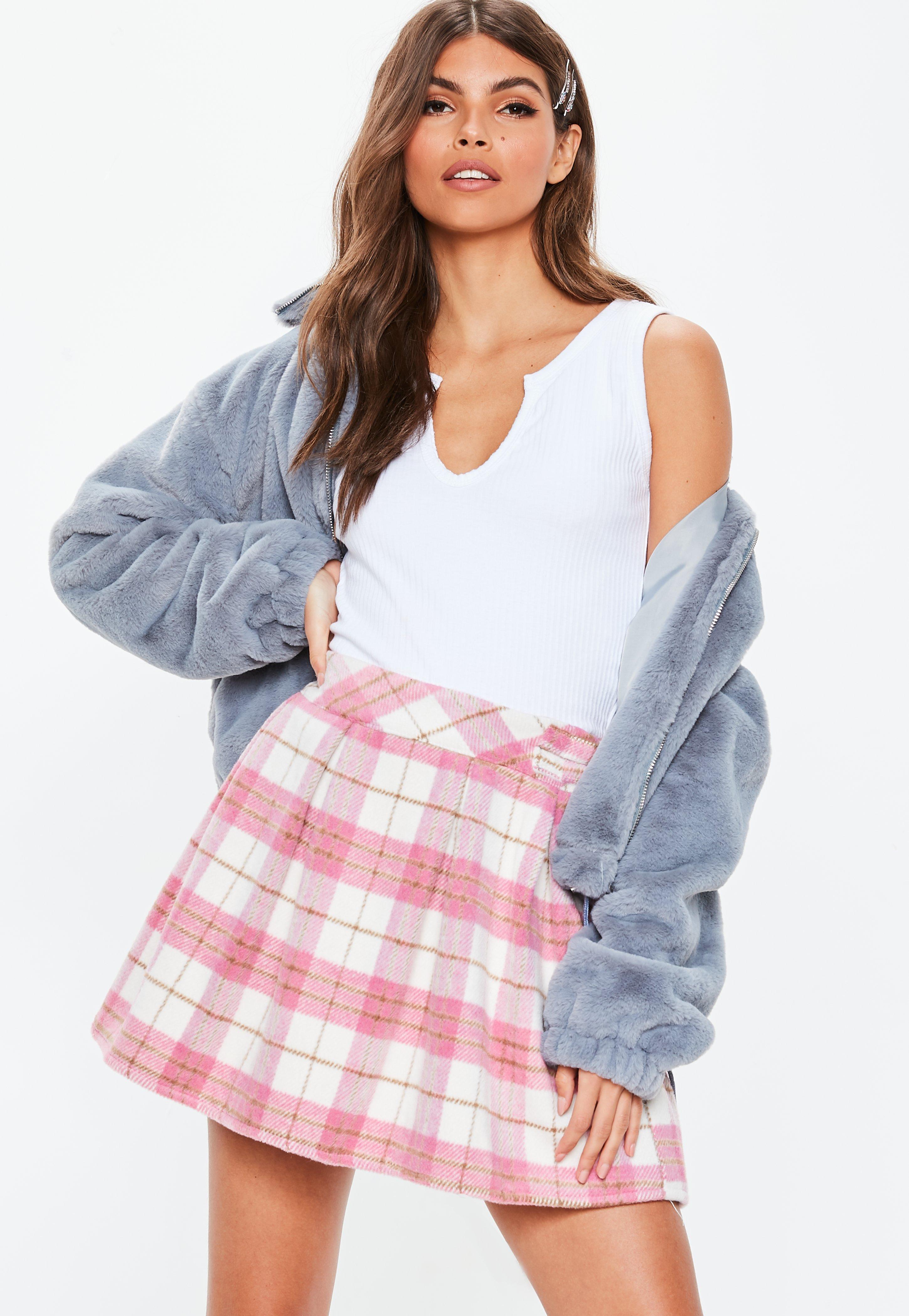 571b24546 Pink Check Pleated Mini Skirt   Missguided Australia
