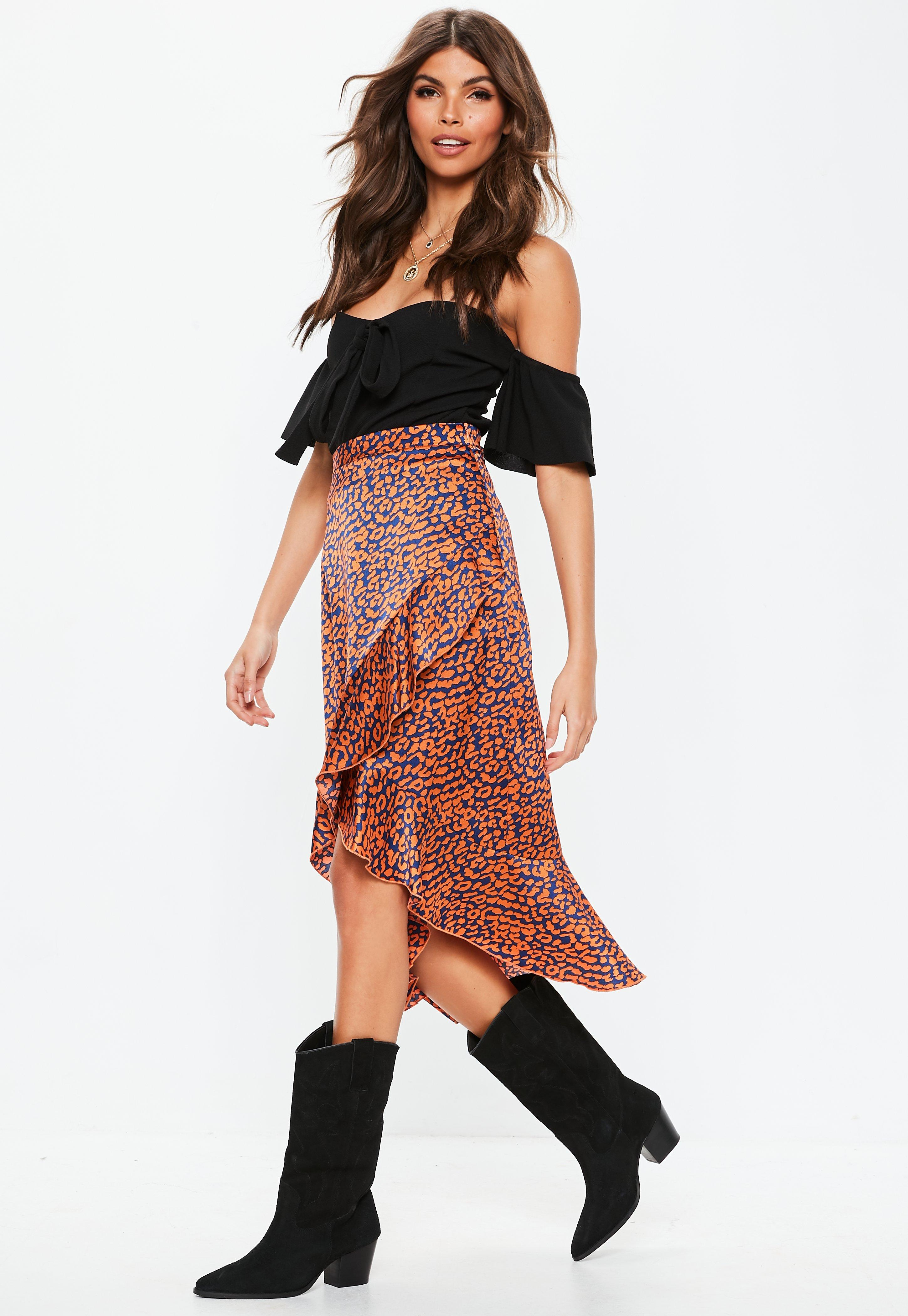 b1779495b57 Orange Animal Print Asymmetric Frill Slip Midi Skirt