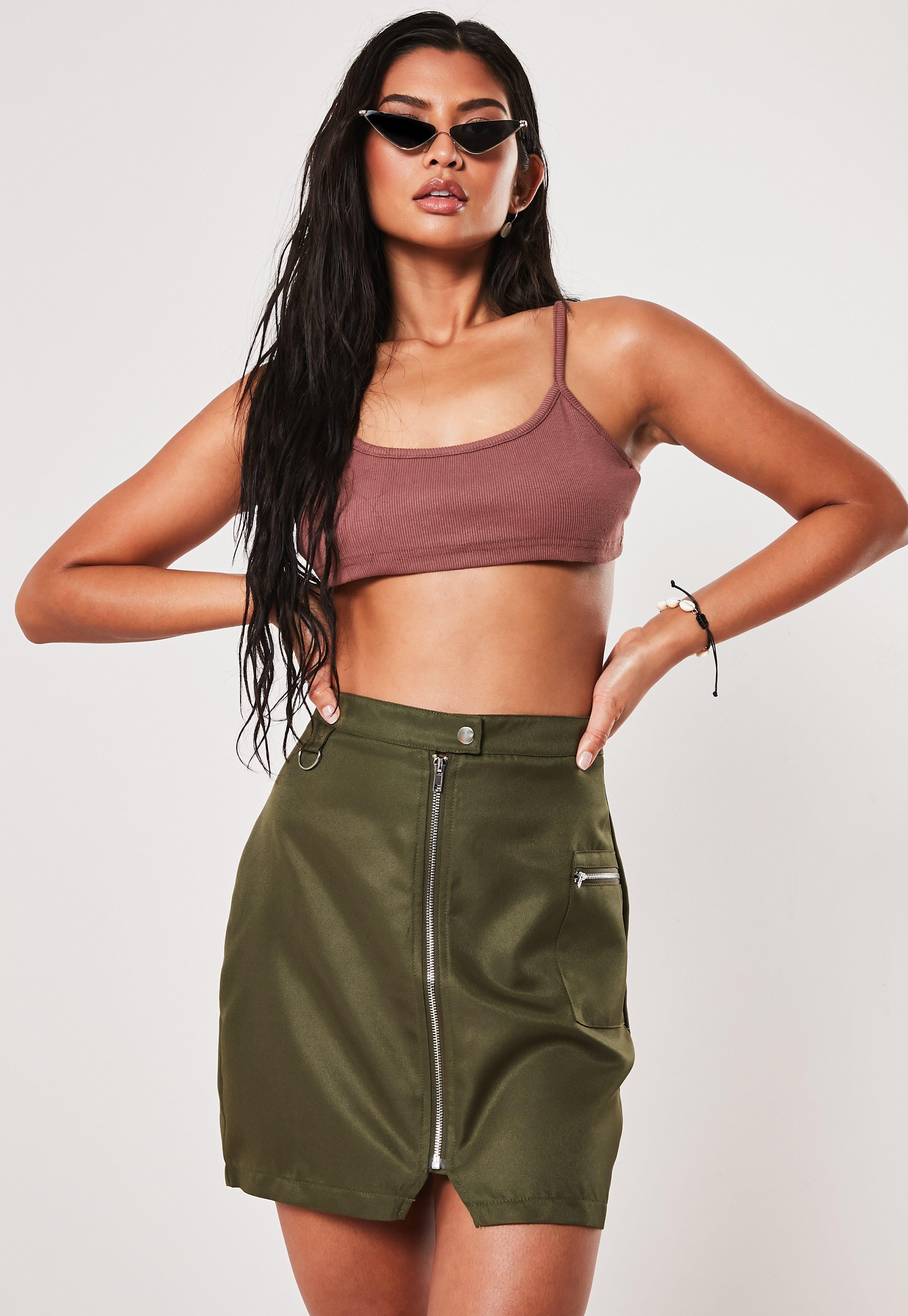 9e9b3f7e6ddce3 Khaki Zip Utility Mini Skirt | Missguided Australia