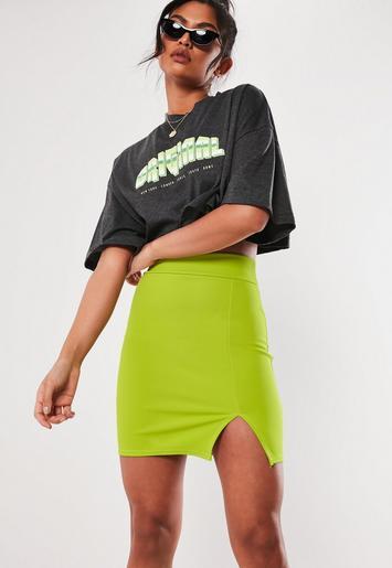 010dc8e89c Neon Lime Scuba Split Mini Skirt | Missguided