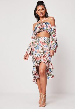 7227a0b0a2 Pink Co Ord Floral Ruffle Hem Midi Skirt