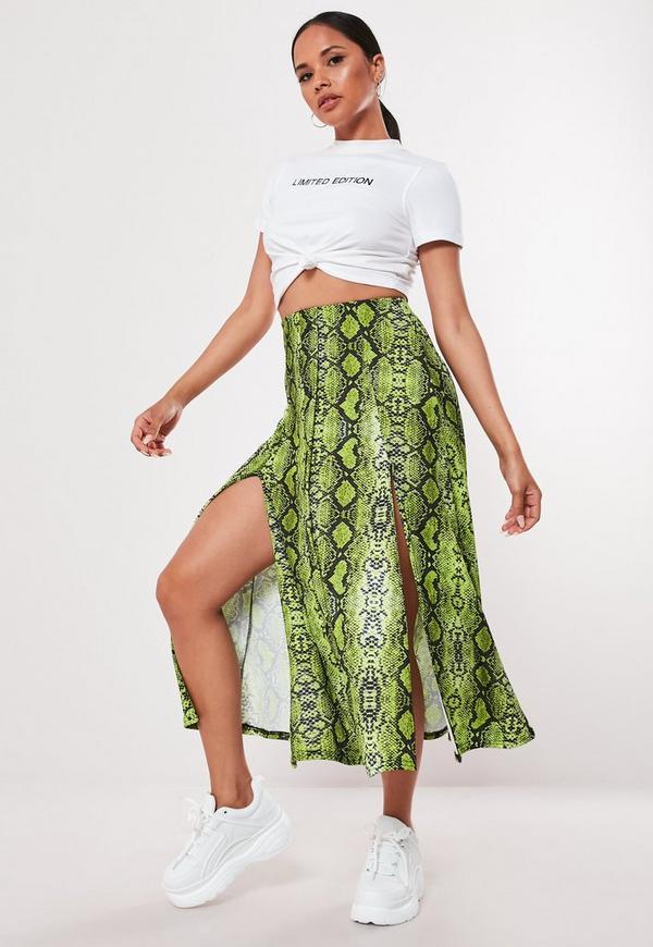2bb859399391 Lime Snake Print Button Front Midi Skirt | Missguided Australia