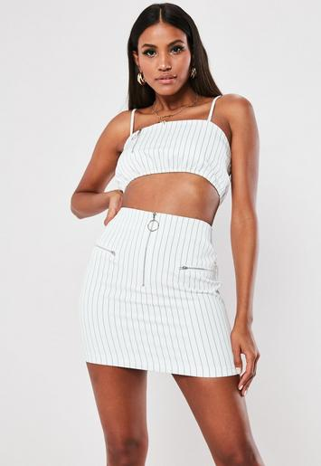 White Pinstripe Co Ord Mini Skirt by Missguided