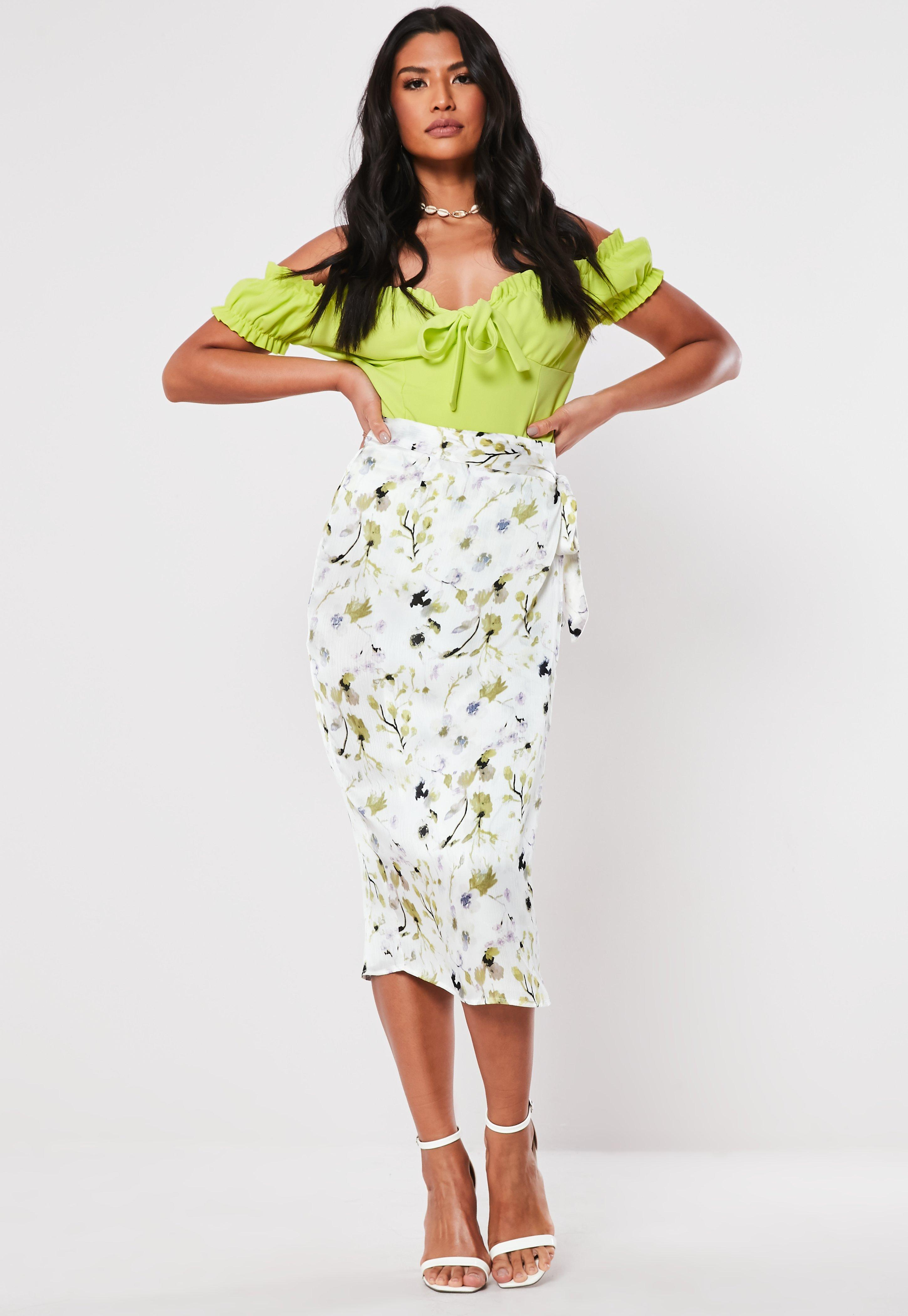 944db1e3e White Floral Wrap Tie Midi Skirt | Missguided