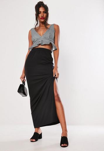 Black Jersey Side Split Maxi Skirt Missguided