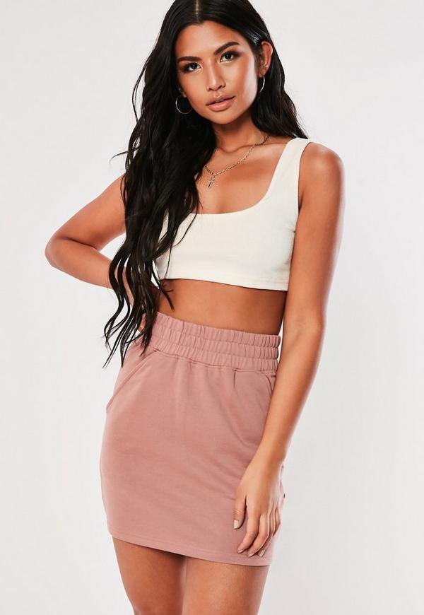 501966fc345 Petite White Cornelli Lace Crop Top. $40.00. Dusty Pink Loopback Pocket  Mini Skirt
