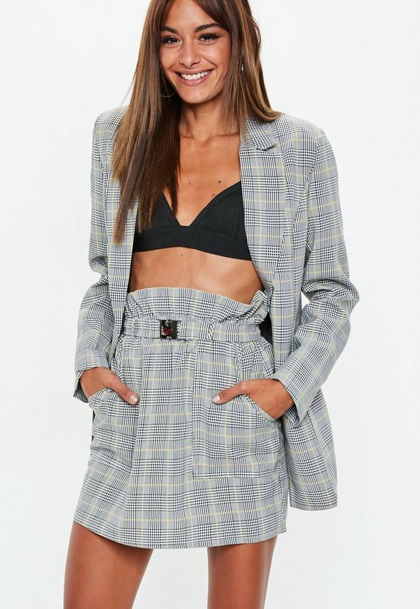 b6b9ab13a0b18 ... Gray Heritage Plaid Paperbag Waist Mini Skirt. Previous Next