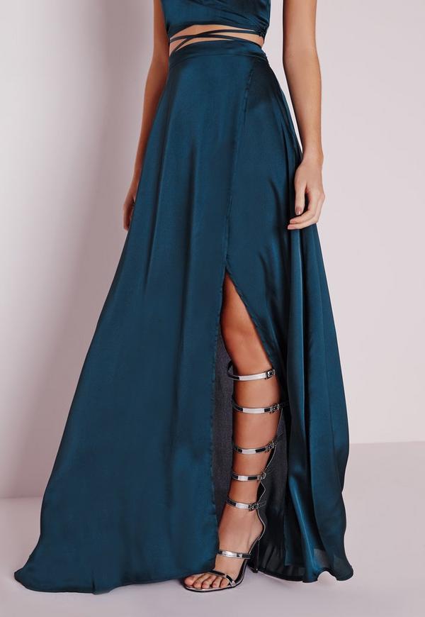 satin wrap maxi skirt teal missguided