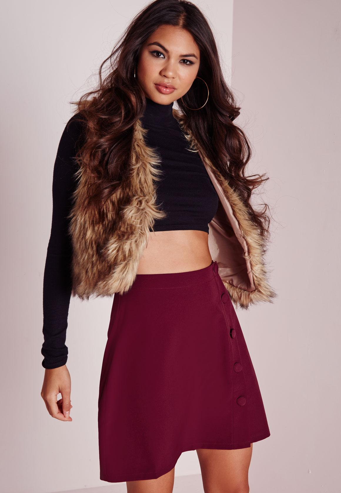 Button Detail A Line Mini Skirt Burgundy - Button - A - Line ...