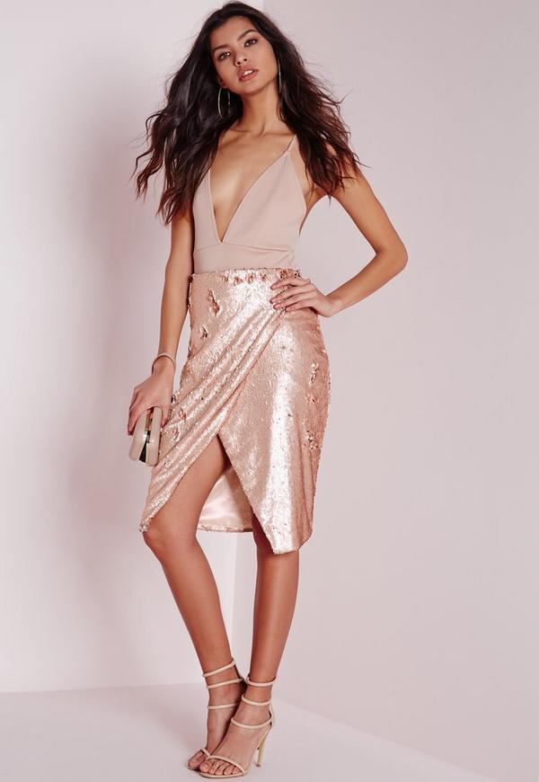 Sequin Wrap Midi Skirt Nude