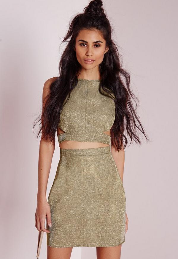 Metallic Mini Skirt Gold