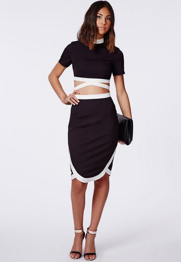 wrap hem contrast midi skirt black
