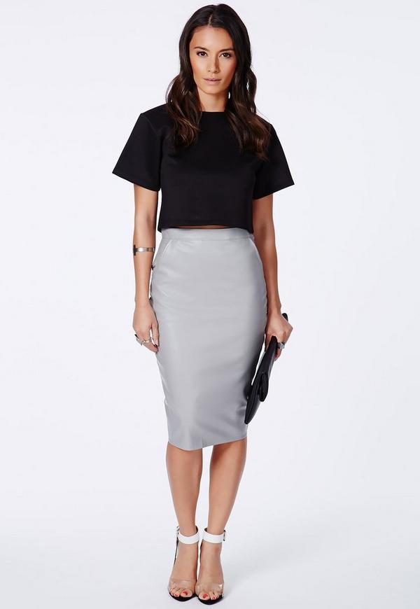 Mariota Grey Faux Leather Pencil Skirt