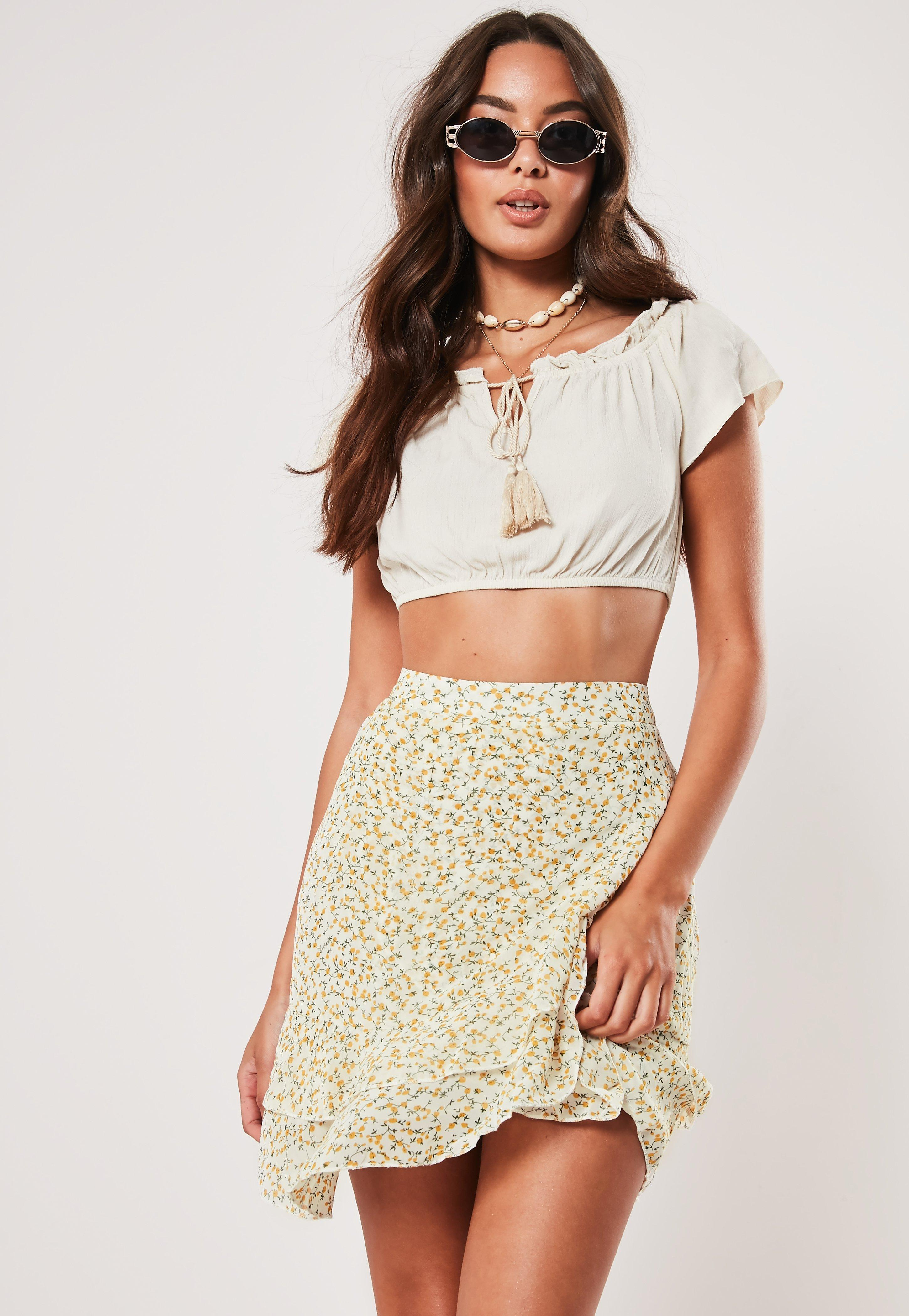 2f27606d9ff Yellow Ditsy Floral Print Wrap Frill Mini Skirt | Missguided Australia
