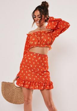 Мини-юбка с цветочным принтом Red Ditsy