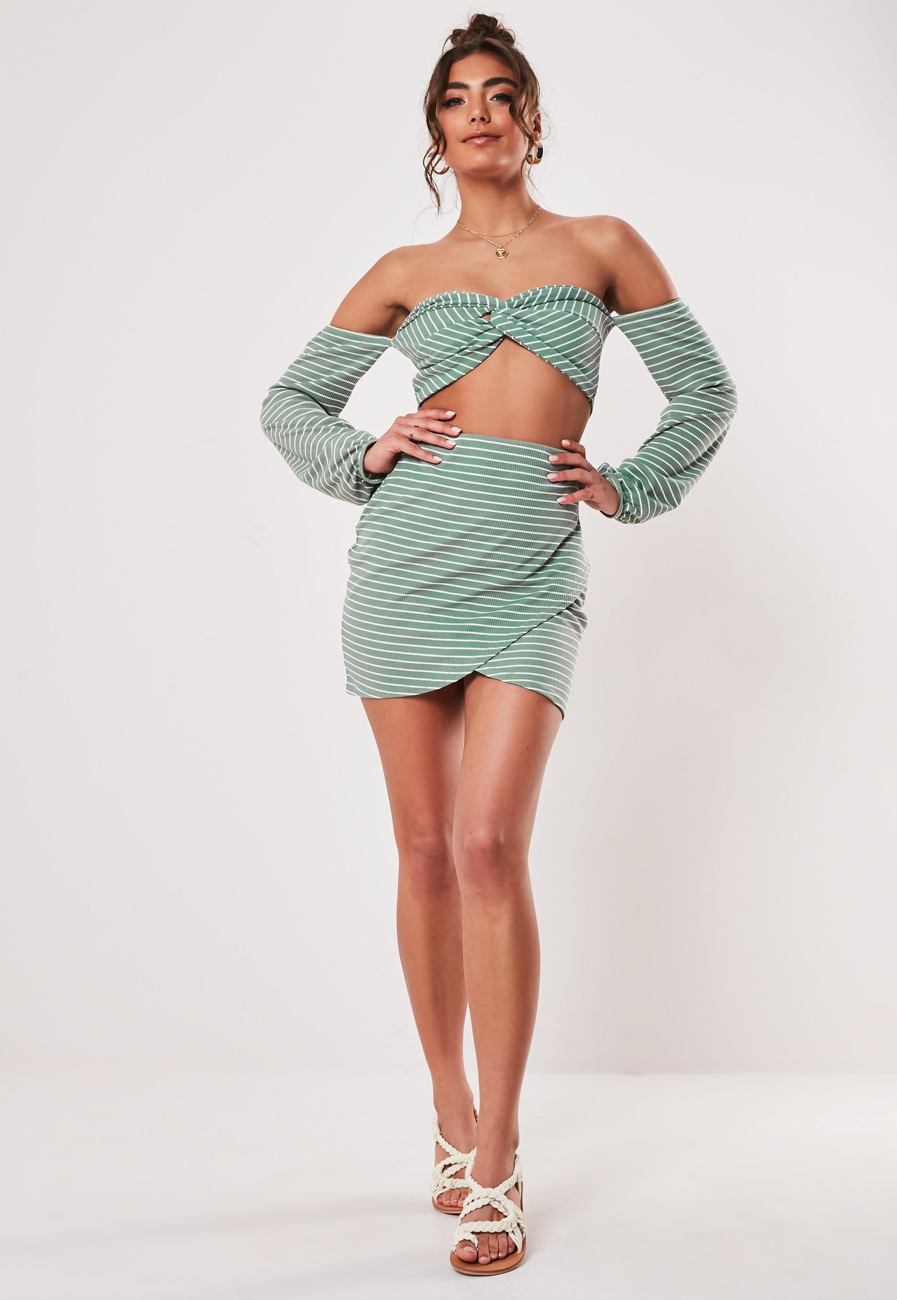 8b0ac60614 Green Co ord Stripe Print Wrap Mini Skirt | Missguided