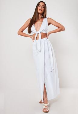 e7cf61684 Lime Jersey Side Split Maxi Skirt · White Co Ord Poplin Wrap Maxi Skirt