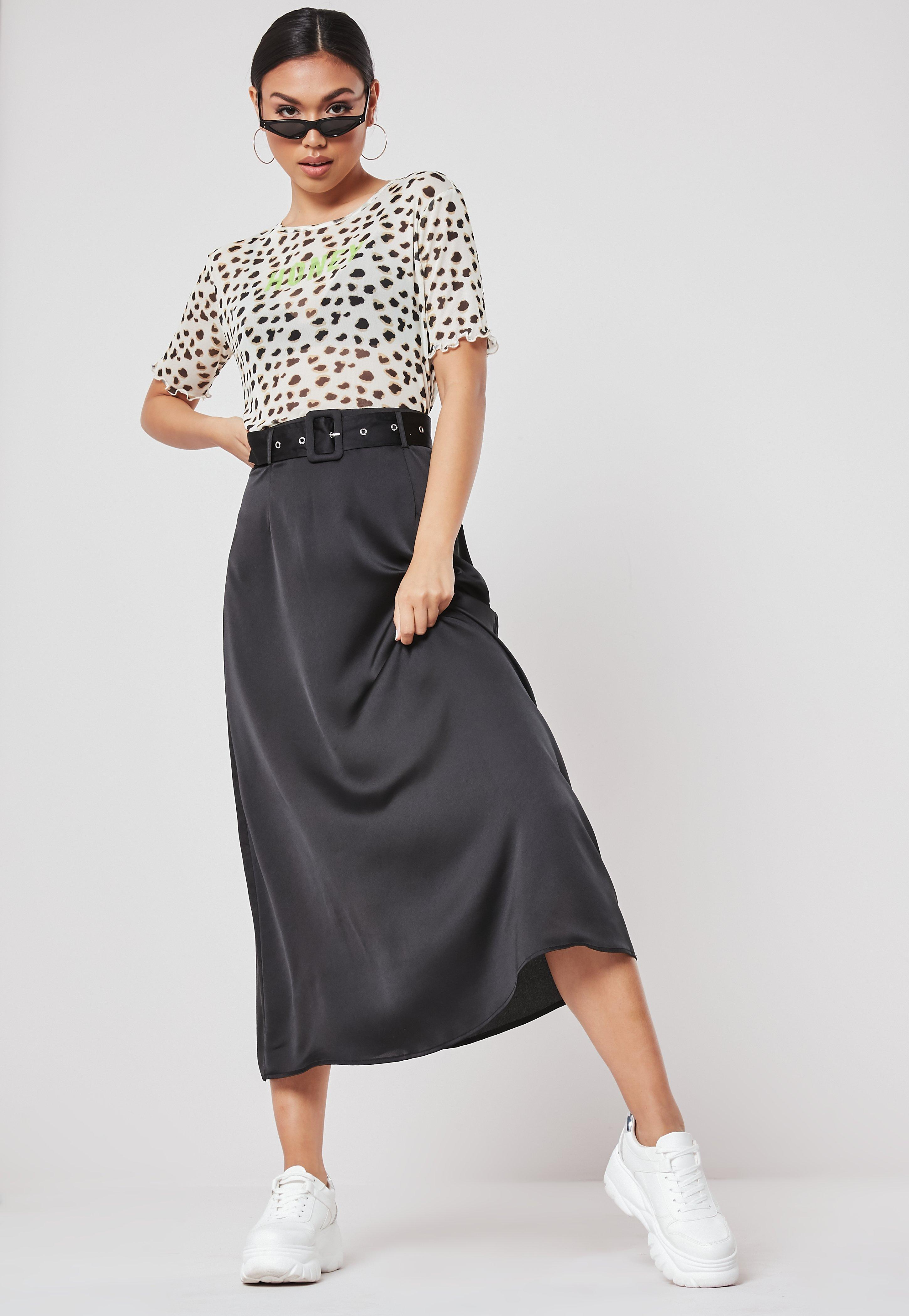 7536dbe9a8 Black Belted Satin Midi Skirt | Missguided