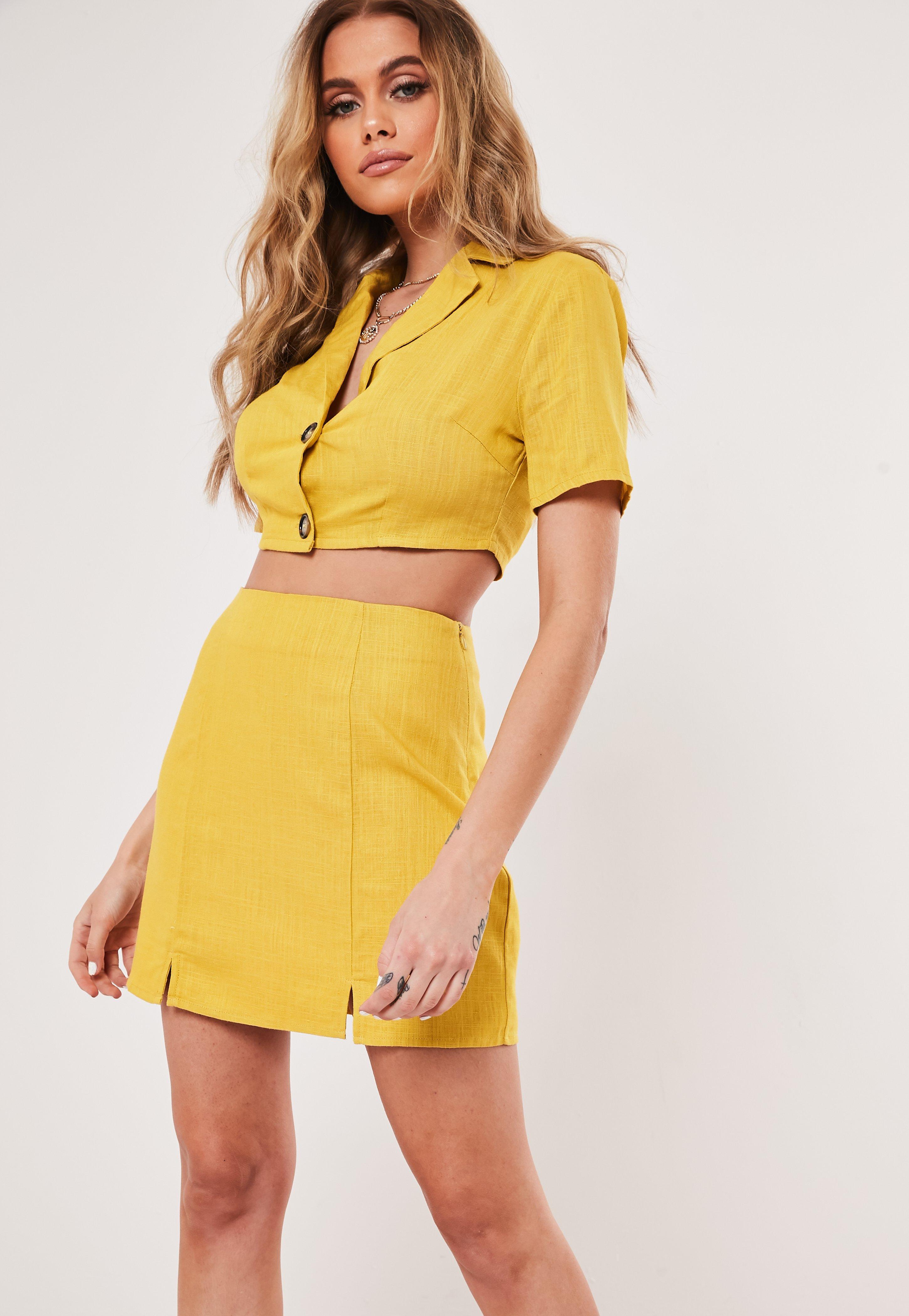 4ca43893 Zara Faux Leather Skirt Yellow